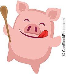gotowanie, ilustracja, tło., wektor, świnka, biały