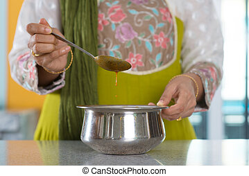 gotowanie, kobieta, indianin