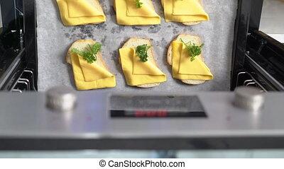 gotowanie, opieczony ser, bread, w, przedimek określony przed rzeczownikami, piec, górny prospekt