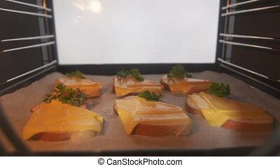 gotowanie, opieczony ser, bread, w, przedimek określony przed rzeczownikami, piec, timelapse