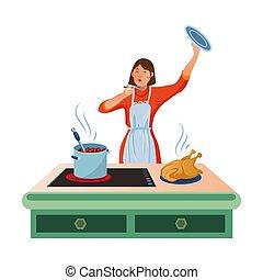 gotowanie, płaski, łyżka, zupa, ilustracja, ręka., rysunek, style., kobieta, wektor, jej, degustacja
