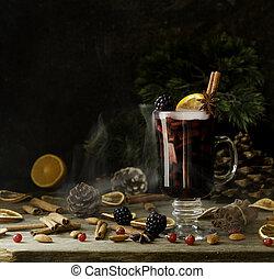 gotowanie, składniki, mulled, orzechy laskowe, szkło, gorący, ozdoby, rok, nowy, boże narodzenie, wino