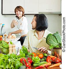 gotowanie, zwykły, para, warzywa