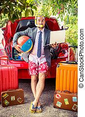gotowy, biznesmen, podróż