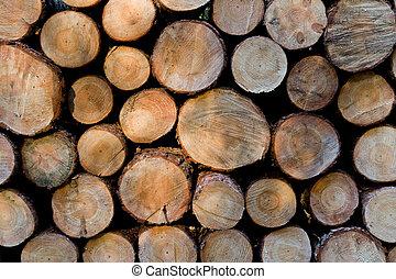 gotowy, drewno kupa, kloce, zima