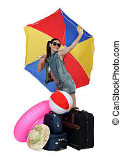 gotowy, dziewczyna, plażowe wakacje