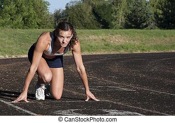 gotowy, samica, atleta, młody, race.