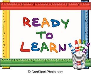 gotowy, whiteboard, pióra, uczyć się