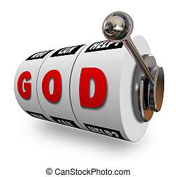 gott, automat, räder, beten, jackpot, gewinnen, religiöses, leben