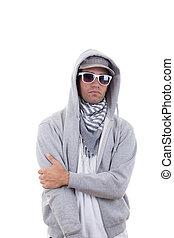 gott tittande, kylig, gangster, in, grå, sweatshirt, med, huv, bärande solglasögoner