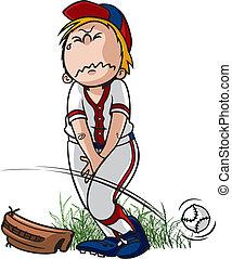 Gotta Pee - Cartoon of a little league baseball player that...