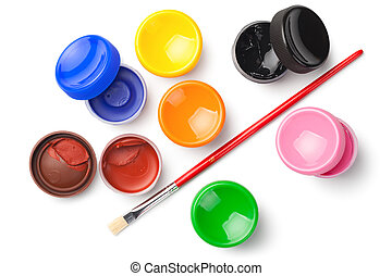Gouache Color Paints with Paint Brush Isolated on White Background