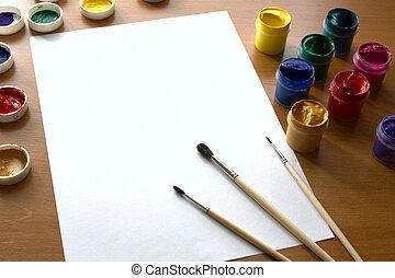 gouache, dessin, table