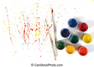 Gouache jars on a white background with colorful spray in top view