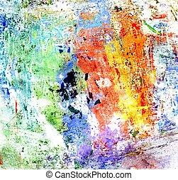 gouache, multicolore, peinture