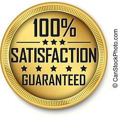 goud, 100%, guaranteed, illustratie, bevrediging, vector, etiket
