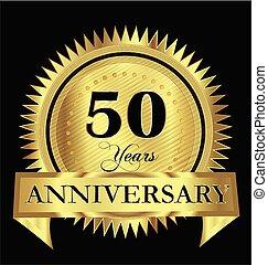 goud, 50th, jubileum, jaren, vector, ontwerp, 50