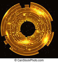 goud, abstract, space., zwarte achtergrond, kopie