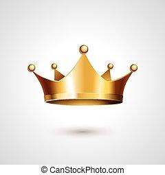 goud, achtergrond, vrijstaand, kroon, witte
