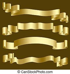goud, banieren, linten