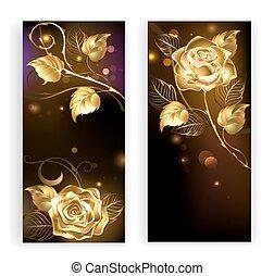 goud, banieren, twee, rozen