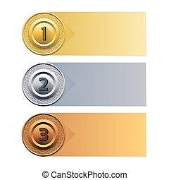 goud, banner., achtergrond., vector, voortgang, zilver, brons