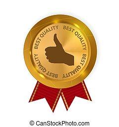 goud, best, guaranteed, illustratie, etiket, vector, rood, kwaliteit, lint