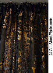 goud, -, black , luxe, achtergrond, gordijn