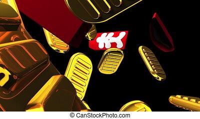 goud, black , zakken, achtergrond, muntjes, ovaal