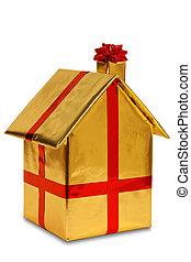 goud boog, papier, nieuw, verpakte, thuis, lint