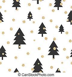 goud, boompje, polka, seamless, shimmer, black , pattern., schitteren, punt