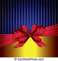 goud, cadeau, bl, boog, lint, rood