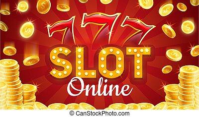 goud, casino, muntjes, online, gleuf, plank, sevens, gelukkig