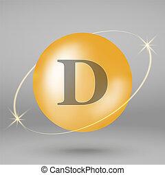 goud, druppel, vitamine, capsule., icon., pil