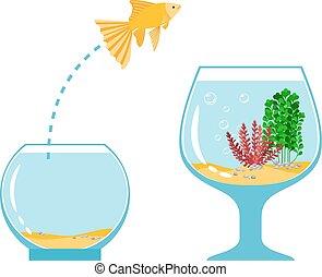 goud, eenvoudig, visje, illustratie, fishbowl, vector, aquarium, ontsnapping, anderen, springt