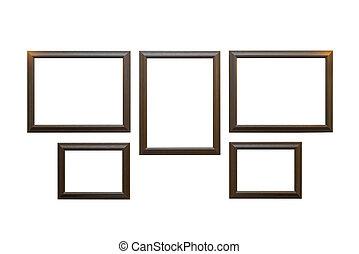 goud, elegant, witte , frame, achtergrond, decoratief, of, foto, vrijstaand, ouderwetse , lijstjes
