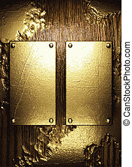 goud, en, hout, achtergrond