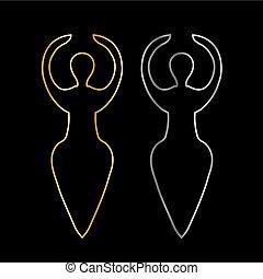 goud, en, zilver, symbool, van, de, wicca