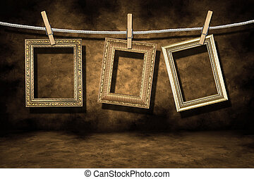 goud, foto lijst in, op, een, verontruste, grunge,...