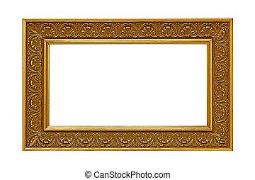 goud, frame, foto