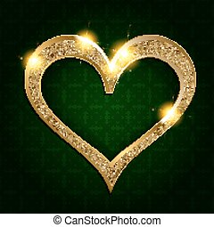 goud, frame, hart, op, een, donkere achtergrond