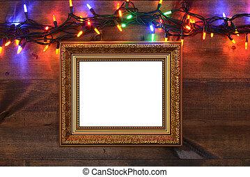 goud, frame, met, christmas lights