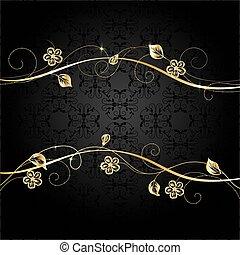 goud, frame, op, donker, achtergrond.