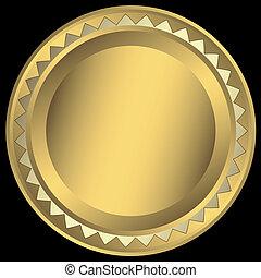 goud, frame, ronde, (vector)