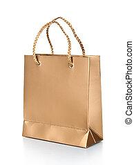 goud, geschenk zakken, vrijstaand, op wit