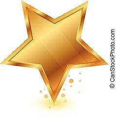 goud, glanzend, ster