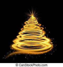 goud, gloeiend, kerstboom