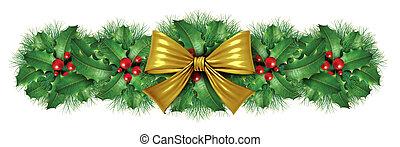 goud, grens, versiering, boog, kerstmis