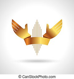 goud, handen, lint, ontwerp