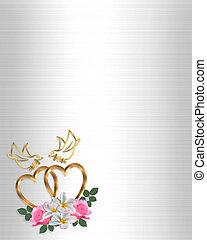 goud, hartjes, trouwfeest, ontwerp